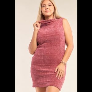 Plus Size Ribbed Knit Semi-Turtleneck Minidress